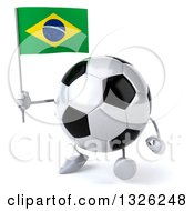Clipart Of A 3d Soccer Ball Character Holding A Brazilian Flag And Walking To The Left Royalty Free Illustration