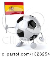 Clipart Of A 3d Soccer Ball Character Walking And Holding A Spanish Flag Royalty Free Illustration