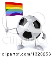 Clipart Of A 3d Soccer Ball Character Holding A Rainbow Flag Royalty Free Illustration