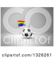 Clipart Of A 3d Soccer Ball Character Holding A Rainbow Flag And Giving A Thumb Up On Gray Royalty Free Illustration