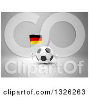 Clipart Of A 3d Soccer Ball Character Giving A Thumb Up And Holding A German Flag On Gray 2 Royalty Free Illustration