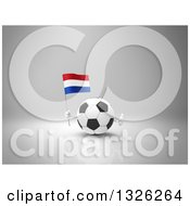 Clipart Of A 3d Soccer Ball Character Holding A Netherlands Flag And Giving A Thumb Up On Gray Royalty Free Illustration