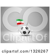 Clipart Of A 3d Soccer Ball Character Holding An Iranian Flag And Giving A Thumb Up On Gray 2 Royalty Free Illustration