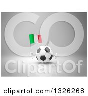 Clipart Of A 3d Soccer Ball Character Holding An Italian Flag And Giving A Thumb Up Over Gray 2 Royalty Free Illustration