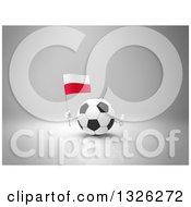 Clipart Of A 3d Soccer Ball Character Holding A Polish Flag And Giving A Thumb Up On Gray 2 Royalty Free Illustration