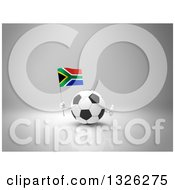 Clipart Of A 3d Soccer Ball Character Holding A South African Flag And Giving A Thumb Up On Gray 2 Royalty Free Illustration