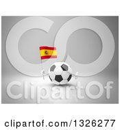 Clipart Of A 3d Soccer Ball Character Holding A Spanish Flag And Giving A Thumb Up On Gray 2 Royalty Free Illustration