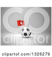 Clipart Of A 3d Soccer Ball Character Holding A Swiss Flag And Giving A Thumb Up On Gray 2 Royalty Free Illustration