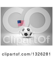 Clipart Of A 3d Soccer Ball Character Holding An American Flag And Giving A Thumb Up On Gray 2 Royalty Free Illustration