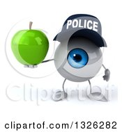 Clipart Of A 3d Blue Police Eyeball Character Holding A Green Apple Royalty Free Illustration