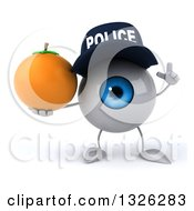 Clipart Of A 3d Blue Police Eyeball Character Holding Up A Finger And Navel Orange Royalty Free Illustration