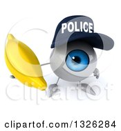 Clipart Of A 3d Blue Police Eyeball Character Holding Up A Banana Royalty Free Illustration