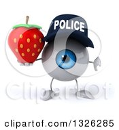Clipart Of A 3d Blue Police Eyeball Character Holding A Strawberry And Thumb Down Royalty Free Illustration