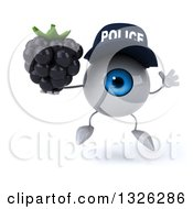 Clipart Of A 3d Blue Police Eyeball Character Jumping And Holding A Blackberry Royalty Free Illustration by Julos