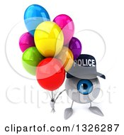Clipart Of A 3d Blue Police Eyeball Character Holding Up Party Balloons Royalty Free Illustration