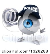 Clipart Of A 3d Blue Police Eyeball Character Shrugging And Holding An Email Arobase At Symbol Royalty Free Illustration by Julos