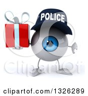 Clipart Of A 3d Blue Police Eyeball Character Giving A Thumb Down And Holding A Gift Royalty Free Illustration by Julos