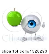 Clipart Of A 3d Blue Eyeball Character Giving A Thumb Up And Holding A Green Apple Royalty Free Illustration