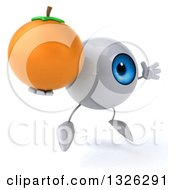 Clipart Of A 3d Blue Eyeball Character Facing Right Jumping And Holding A Navel Orange Royalty Free Illustration