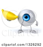 Clipart Of A 3d Blue Eyeball Character Holding A Banana Royalty Free Illustration