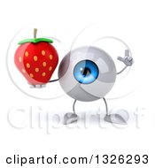 Clipart Of A 3d Blue Eyeball Character Holding Up A Finger And A Strawberry Royalty Free Illustration