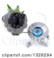 Clipart Of A 3d Blue Eyeball Character Holding Up A Blackberry Royalty Free Illustration