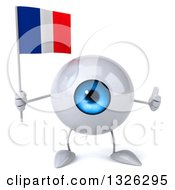 Clipart Of A 3d Blue Eyeball Character Holding A French Flag And Giving A Thumb Up Royalty Free Illustration