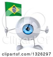 Clipart Of A 3d Blue Eyeball Character Holding A Brazilian Flag And Giving A Thumb Up Royalty Free Illustration