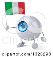 Clipart Of A 3d Blue Eyeball Character Walking To The Left And Holding An Italian Flag Royalty Free Illustration