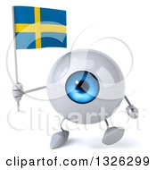 Clipart Of A 3d Blue Eyeball Character Holding A Swedish Flag And Walking Royalty Free Illustration