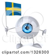 Clipart Of A 3d Blue Eyeball Character Holding A Swedish Flag And Giving A Thumb Down Royalty Free Illustration