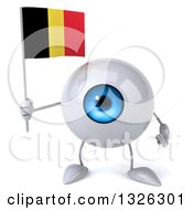 Clipart Of A 3d Blue Eyeball Character Holding A Belgian Flag Royalty Free Illustration