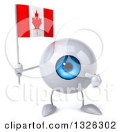 Clipart Of A 3d Blue Eyeball Character Holding And Pointing To A Canadian Flag Royalty Free Illustration