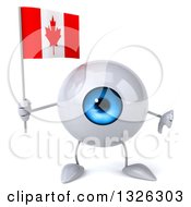 Clipart Of A 3d Blue Eyeball Character Holding A Canadian Flag And Giving A Thumb Down Royalty Free Illustration