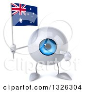 Clipart Of A 3d Blue Eyeball Character Holding And Pointing To An Australian Flag Royalty Free Illustration