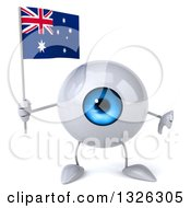Clipart Of A 3d Blue Eyeball Character Holding An Australian Flag And Giving A Thumb Down Royalty Free Illustration
