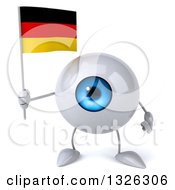 Clipart Of A 3d Blue Eyeball Character Holding A German Flag Royalty Free Illustration
