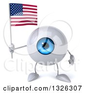 Clipart Of A 3d Blue Eyeball Character Holding An American Flag Royalty Free Illustration