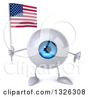 Clipart Of A 3d Blue Eyeball Character Holding An American Flag And Giving A Thumb Down Royalty Free Illustration