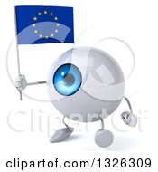 Clipart Of A 3d Blue Eyeball Character Holding A European Flag And Walking To The Left Royalty Free Illustration