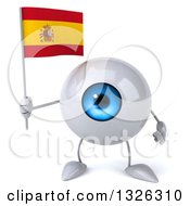 Clipart Of A 3d Blue Eyeball Character Holding A Spanish Flag Royalty Free Illustration