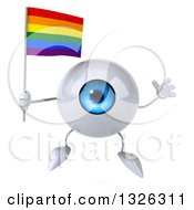 Clipart Of A 3d Blue Eyeball Character Holding A Rainbow Flag And Jumping Royalty Free Illustration
