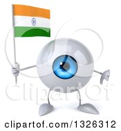 Clipart Of A 3d Blue Eyeball Character Holding An Indian Flag And Giving A Thumb Down Royalty Free Illustration