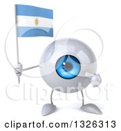 Clipart Of A 3d Blue Eyeball Character Holding And Pointing To An Argentine Flag Royalty Free Illustration