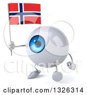 Clipart Of A 3d Blue Eyeball Character Walking To The Left And Holding A Norwegian Flag Royalty Free Illustration