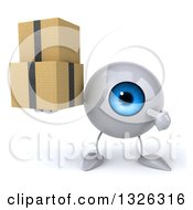 Clipart Of A 3d Blue Eyeball Character Holding And Pointing To Boxes Royalty Free Illustration