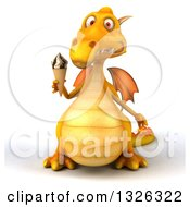 Clipart Of A 3d Yellow Dragon Holding A Waffle Ice Cream Cone 2 Royalty Free Illustration