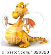 Clipart Of A 3d Yellow Dragon Facing Left And Holding A Waffle Ice Cream Cone Royalty Free Illustration