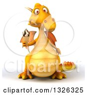 Clipart Of A 3d Yellow Dragon Holding A Waffle Ice Cream Cone Royalty Free Illustration