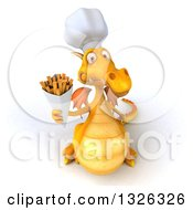 Clipart Of A 3d Yellow Dragon Chef Holding Up French Fries Royalty Free Illustration